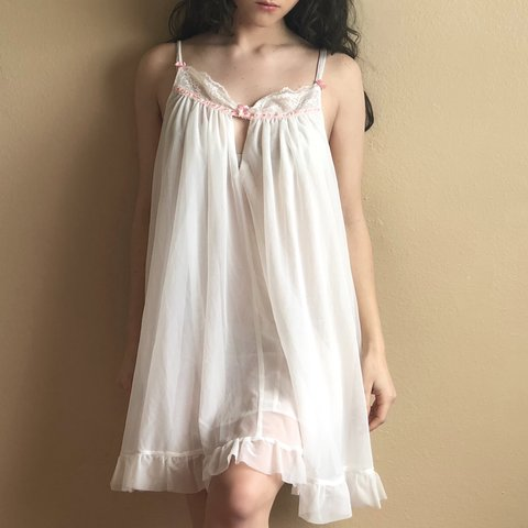 e7c7f9d8b5fe FREE SHIPPING!!! Betsey Johnson white sheer slip dress 🎀 in - Depop