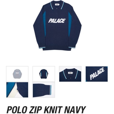 926bb080 Palace Polo Zip Knit Navy, Size Medium, Sold out instantly. - Depop