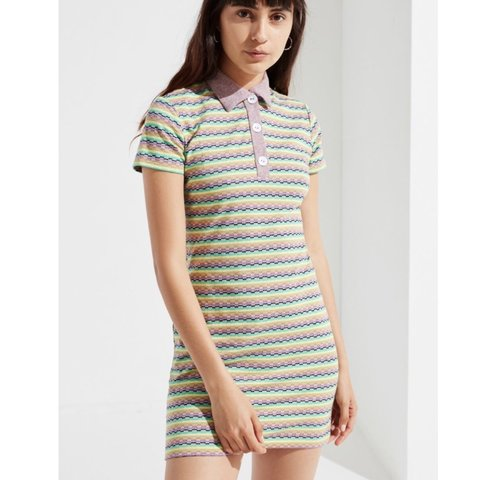 cfab94ab7c8 Urban Outfitters rainbow striped polo dress! This is SO and - Depop