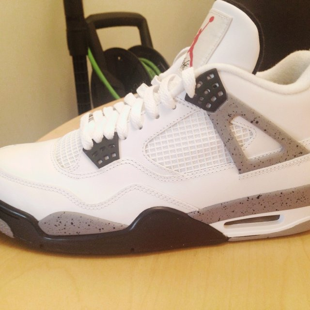 78daef1fc60f4d Nike air jordan 4s white cement size 8.5uk would pass as new - Depop