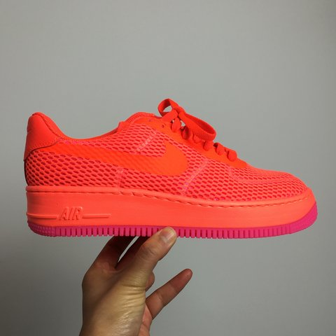 new concept 38d72 01891  thefashpack. 2 years ago. London, UK. Amazing Wavey neon orange and pink  flyknit Nike Air Force 1 ...