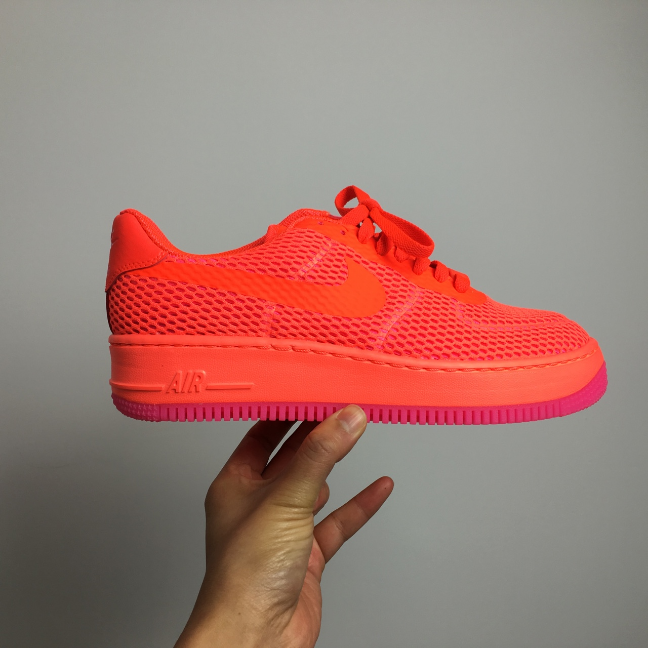 new concept d9ca3 1c224  thefashpack. 2 years ago. London, UK. Amazing Wavey neon orange and pink  flyknit Nike Air Force 1 ...