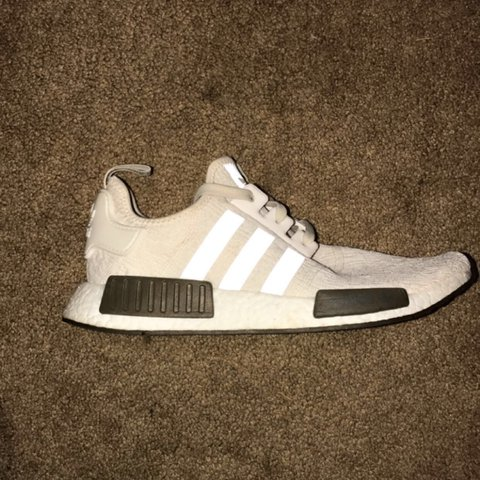 96f7e713b Champs sports x nmd chalk and olive r1 amazing condition 10 - Depop