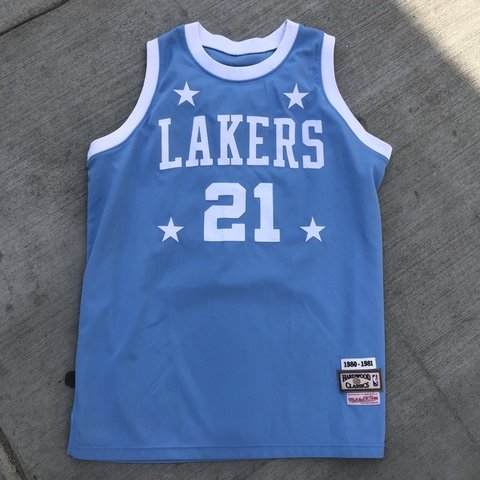 1360f2ba Mitchell & Ness Hard Wood Clasics Lakers Jersey Tag has L - Depop