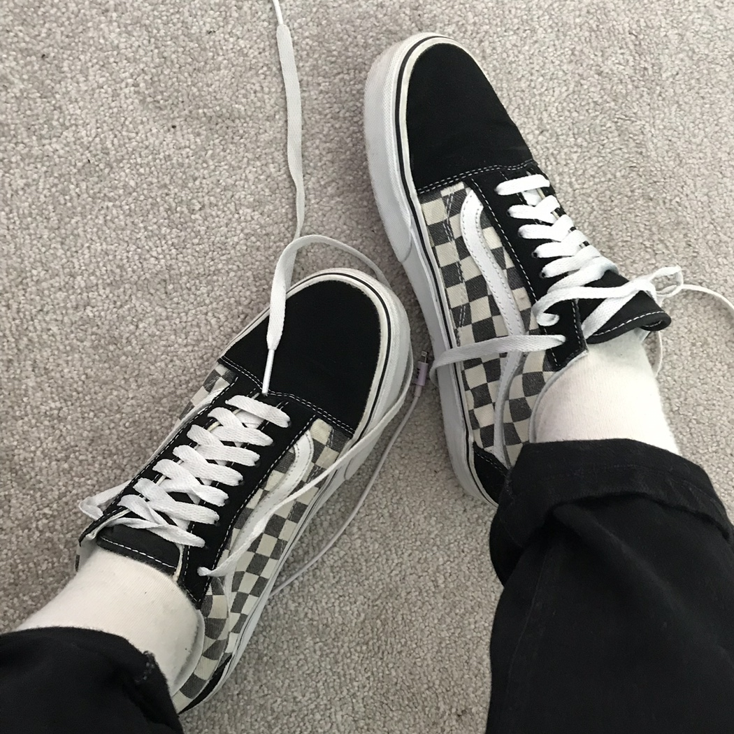 VANS OLD SKOOL CHECKERBOARD size 6 hardly worn, Depop