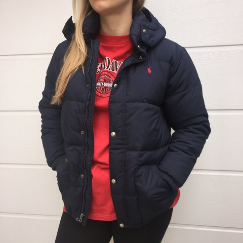 e2c9397ea @lilybedwell. 2 years ago. London, UK. Navy blue Ralph Lauren down puffer  jacket // down puffa ...