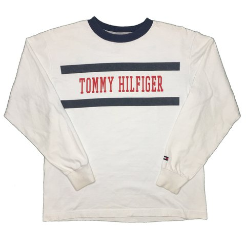0b7d054e @lilybedwell. last year. London, UK. Vintage Tommy Hilfiger Big Logo Spell  Out T shirt / LS Tee / Longsleeve Top. White / navy blue / red.