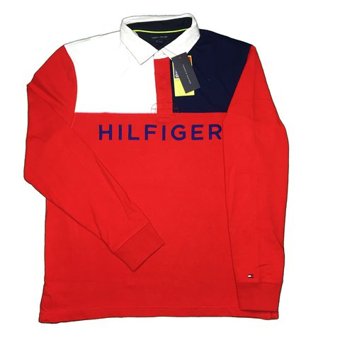 e421f341 @lilybedwell. last year. London, UK. Tommy Hilfiger Big logo spell out Polo  Rugby top / LS t shirt / Longsleeve tee. Navy Blue / white / red.