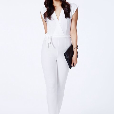 afa1a95d25f2 Size 10 white low cut beautiful jumpsuit from missguided new - Depop