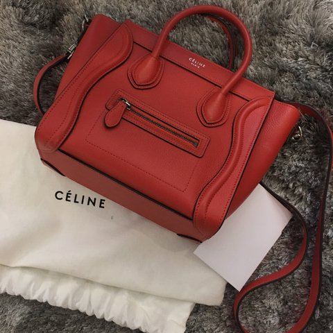 5a96f0d1f77a USED 9.5 10 condition.  CELINE Red NANO LUGGAGE BAG in With - Depop