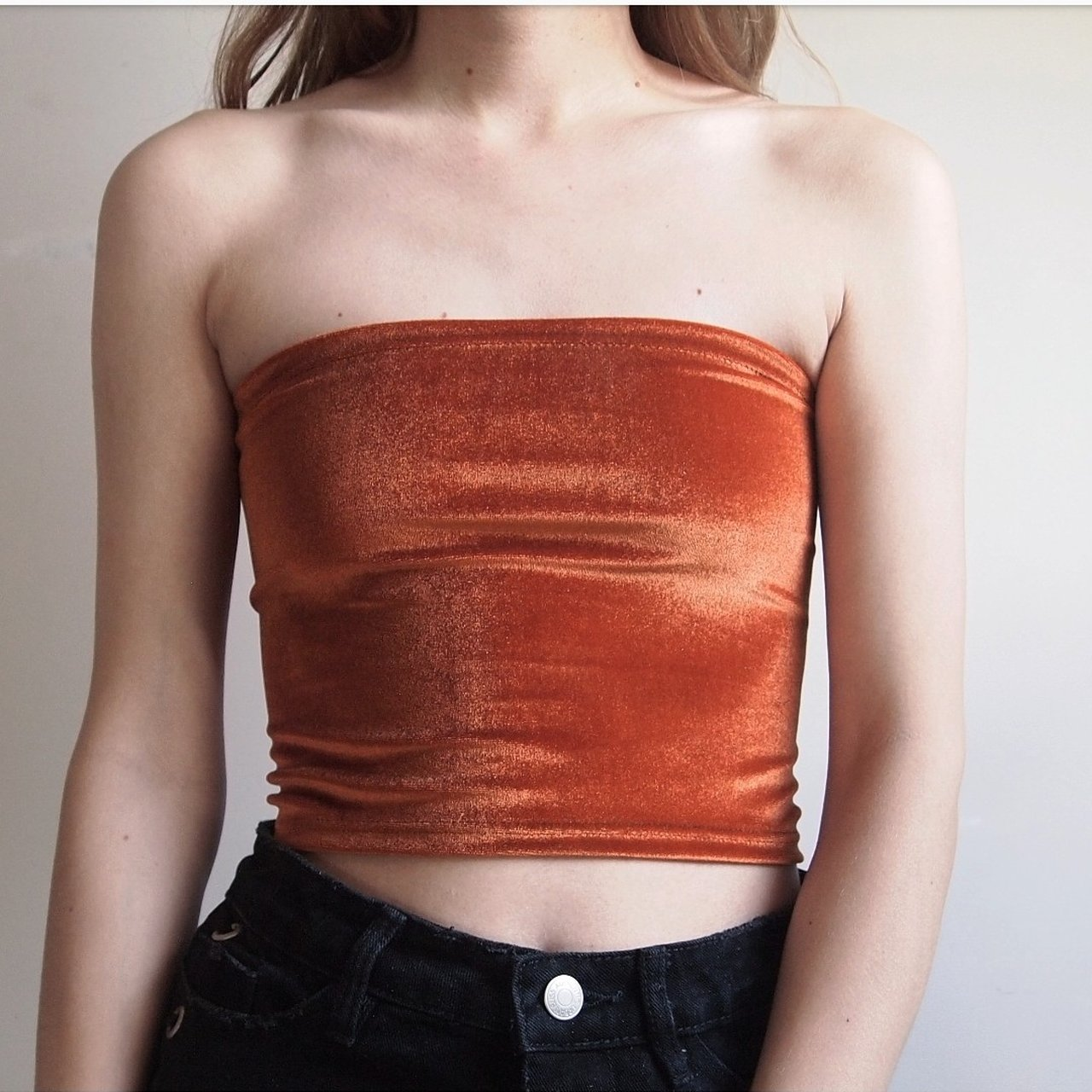 434919bc40 New handmade by me 🔥🔥🔥 copper brown velvet bandeau boob 4 - Depop