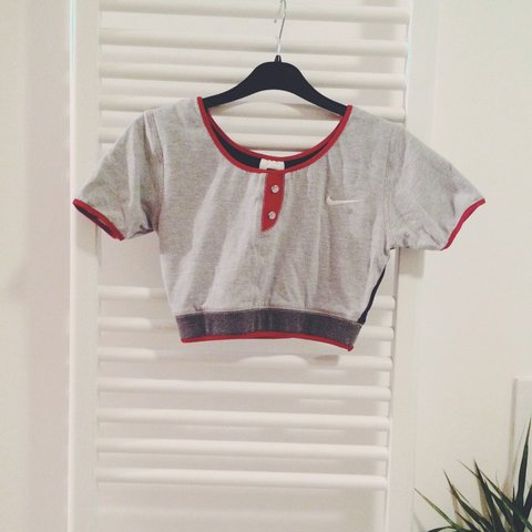 NIKE 90s crop top   sportswear   vintage grey and red aged a - Depop ad6a72c90