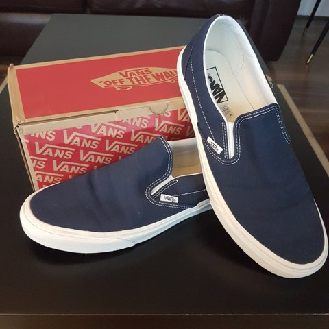 69def74794 Brand new Men s Vans Classic Navy Vintage Slip-On shoes size - Depop