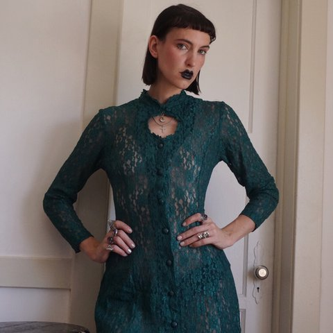 00a919bd054 Incredible vintage 90s forest green sheer lace corset dress. - Depop