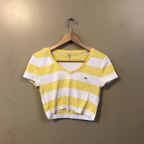 06f7f2b3 @annaphilly. 5 months ago. United States. Super cute Tommy Hilfiger yellow  as white striped flag logo cropped tee ...