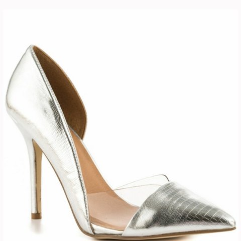 Justfab silver and see-through heels