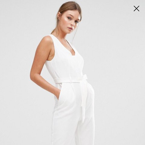 6849f67f3d6b Selling this white tie up jumpsuit from ASOS. Would fit a a - Depop
