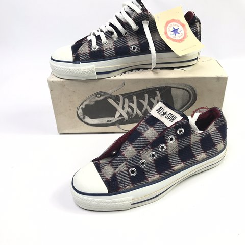 f3094162986e95 Vintage 90s Converse Chuck Taylor All Star Low Wool Plaid in - Depop