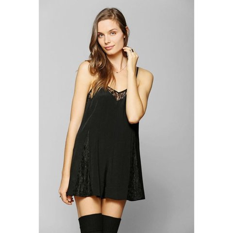 d54d36df28 Women s Black Pins and Needles Lace Inset Slip Romper from - Depop
