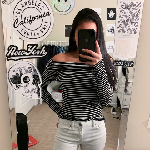 """722759120404df Black and white off the shoulder top from Tillys 4 10"""" for - Depop"""