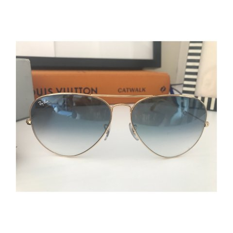 165e8f9c62 Genuine Ray Ban aviator sunglasses in gold with blue lenses. - Depop
