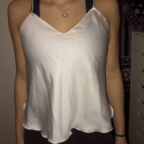 8f867efb71e38 Silky super cute white tank top with slight frill at the - Depop
