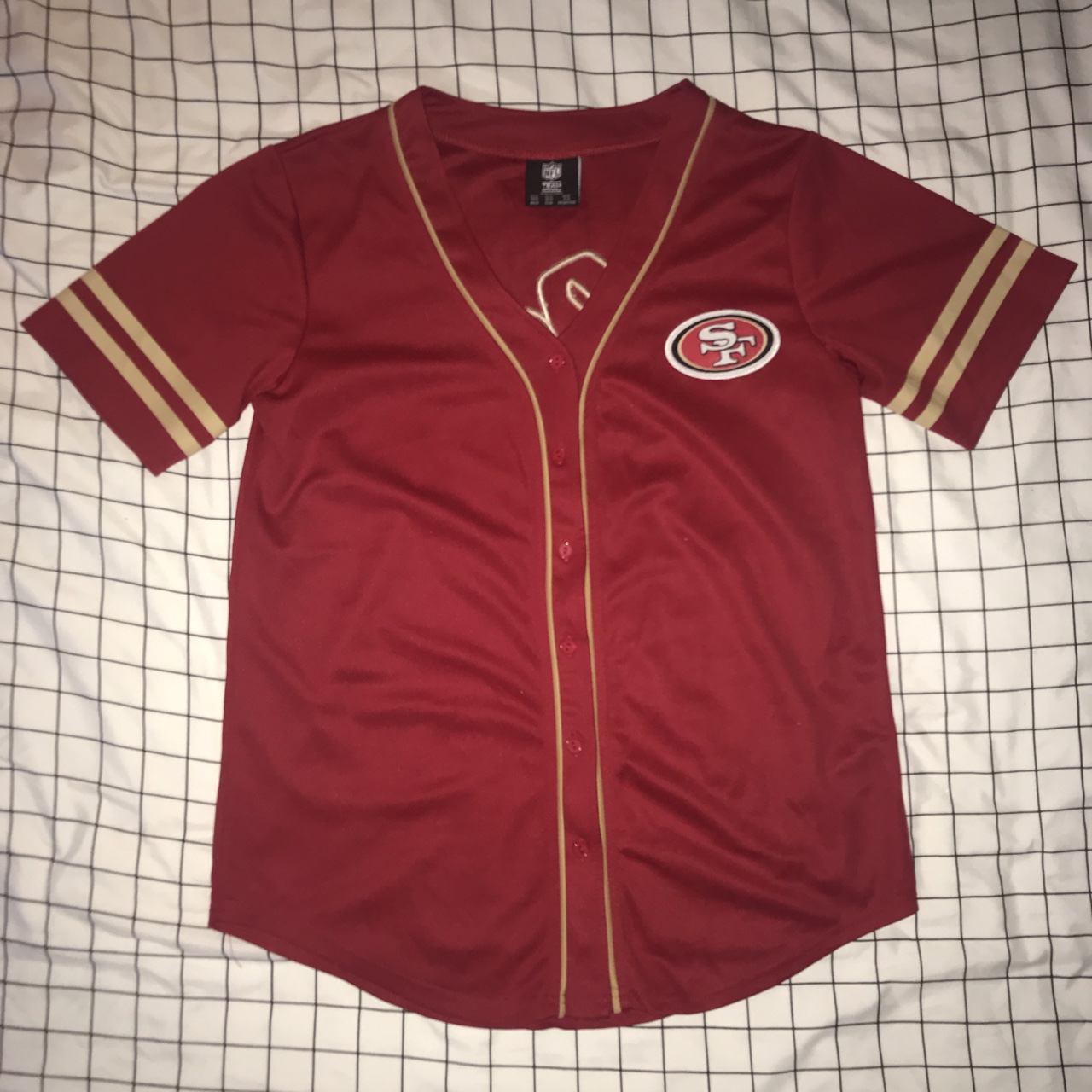 best sneakers 3fe75 85b77 49ers baseball style jersey New without tags, never... - Depop