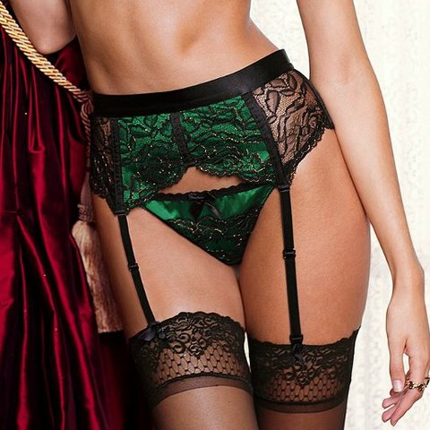c041a47f5fa Victoria s secret very sexy 2014 garter belt. Green and silk - Depop