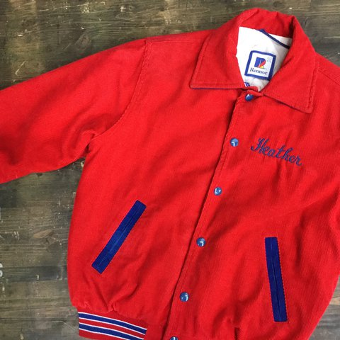 f73ced78 Red Corduroy Varsity Jacket Womens Large All of our staff - Depop