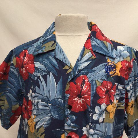 df2c2ae6 Miller Lite Embroidered Hawaiian Shirt Extra Large All - Depop