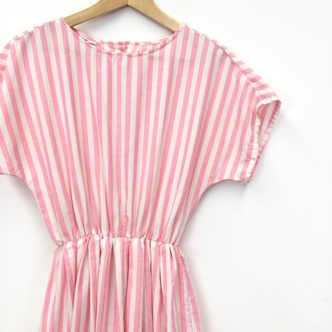 87714ec83e5dc @tobewornagainvintage. 2 months ago. Middlesbrough, United Kingdom. Vintage Candy  Pink and White Stripe Summer Dress