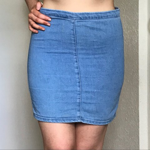 4981464deb ✨ topshop moto fitted denim skirt with zip up back • W30 fit - Depop