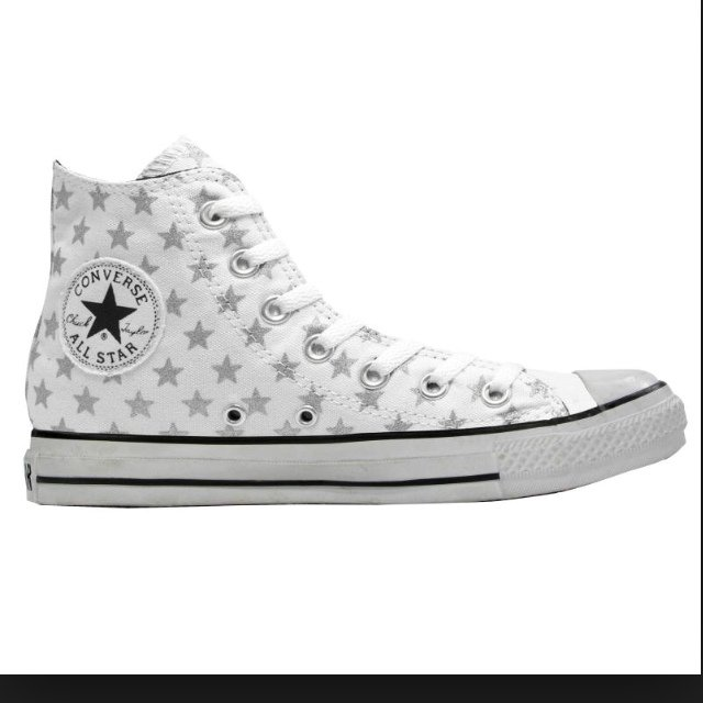e23b01a9ed19 White converse with silver stars on love them but my trainer - Depop