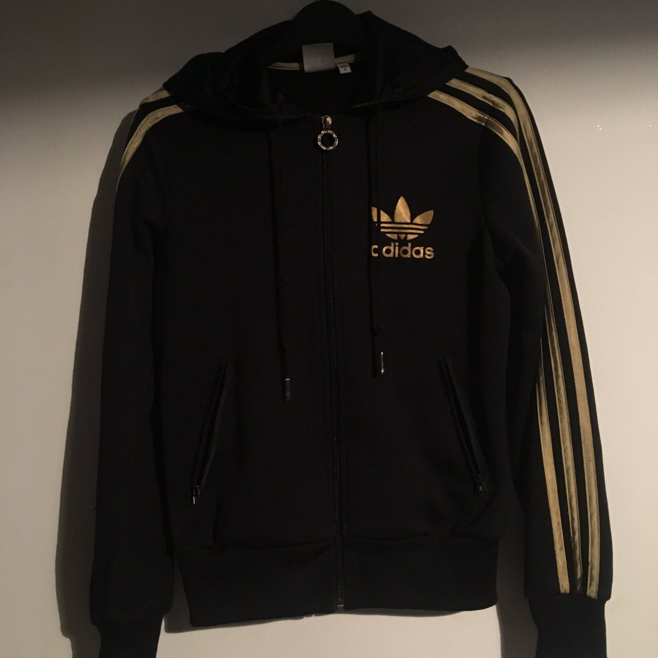 Black and gold Adidas originals track jacket Size for raves - Depop 50d5de340