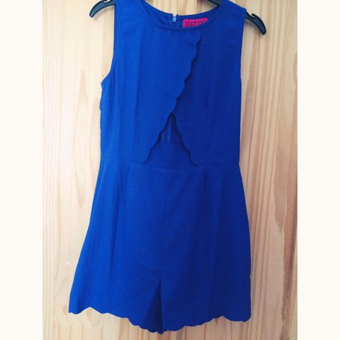 f2555991097 Boohoo Electric Blue Playsuit. Cut out middle. Scallop cut - Depop
