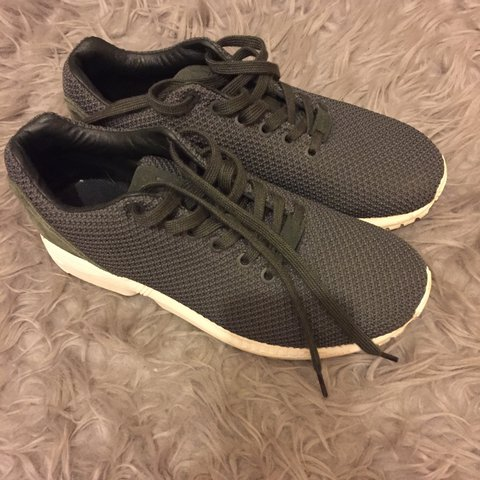 d2b3d51ae Khaki Adidas ZX Flux Torsion trainers. Size 6 but fits like - Depop