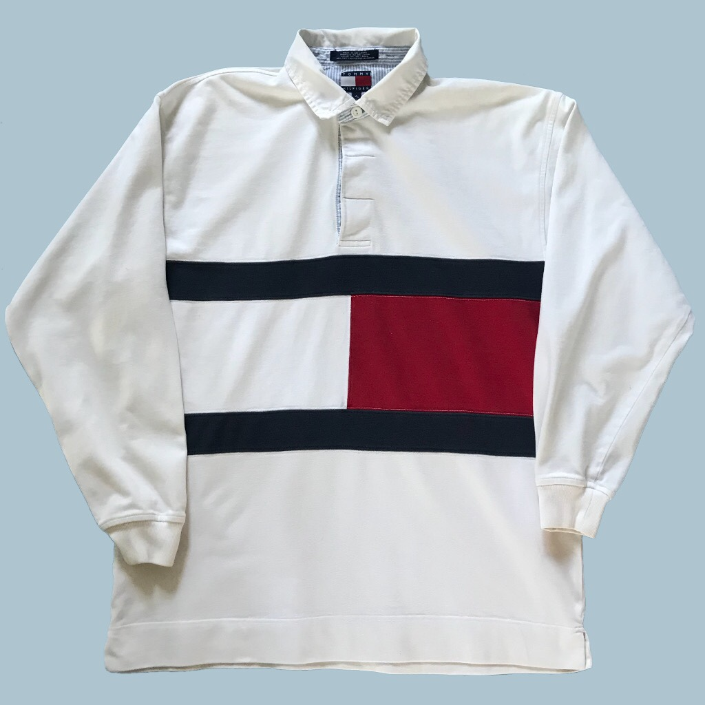 Vintage 90s Tommy Hilfiger rugby polo sweatshirt Depop