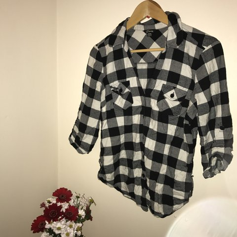 1633b2a3e0fe7f @chloetottenham. 10 months ago. United Kingdom. Women's Guess designer shirt  in size M - black white and grey checkered ...
