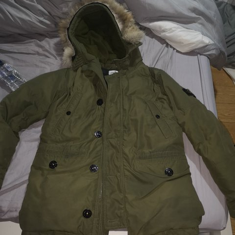 671cd3fc9 Age 12-14 stone Island fur hooded khaki down jacket 100% and - Depop