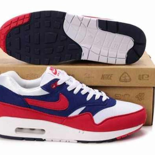10f9b4cff6 @mctavvy. 5 years ago. Wales, UK. Nike Air Max 1 Mens Midnight Navy/Action  Red-Neptune Blue ...