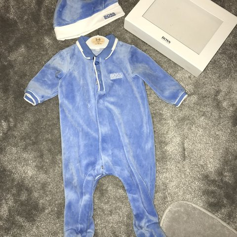 bef8390607e33 Baby boy Hugo boss velour babygrow with hat comes with box - Depop