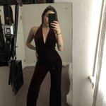 b9cd614202c Judi Christopher Red Velvet Jumpsuit Size XL  XL  Judi - Depop