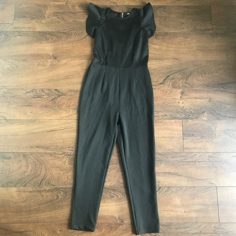 8adaa68f0a6 Missguided black jumpsuit with lace insert