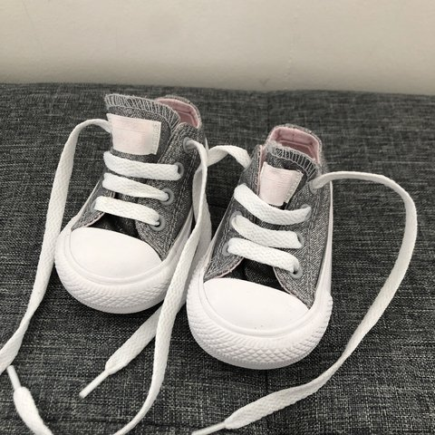f11afd791f8720 Silver glitter   Light Pink baby infant converse uk size 3 ! - Depop