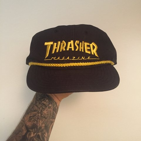 9a662c603a8 Thrasher rope SnapBack hat. Black gold