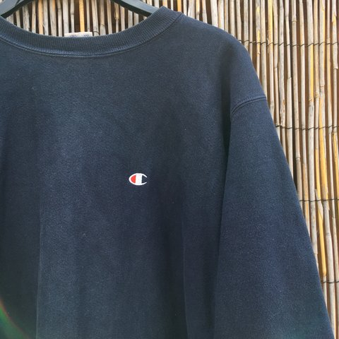 d6cc2e1a Navy men's size large champion jumper with raw hem !! due to - Depop