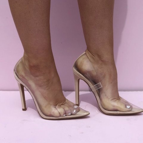 2df7e23fc56 Perspex nude heels worn once bought from EBay and they sent - Depop