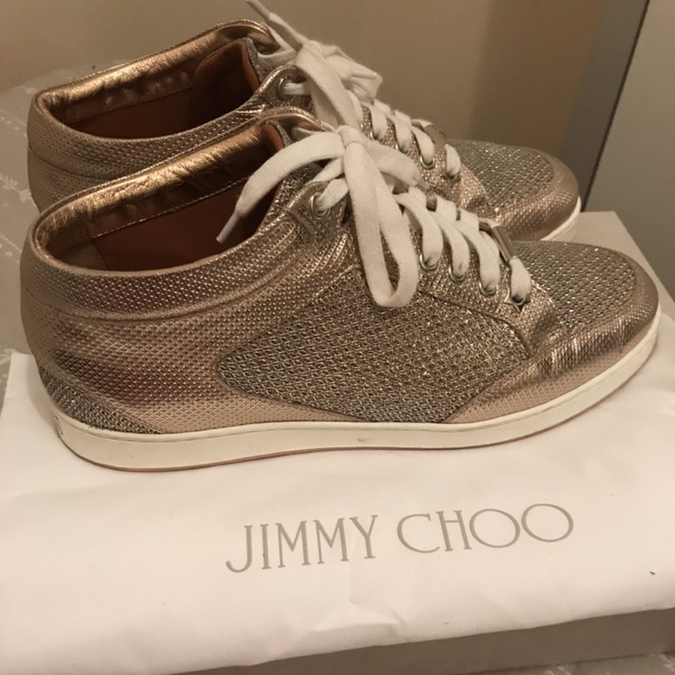 Size 6 rose gold jimmy choo trainers