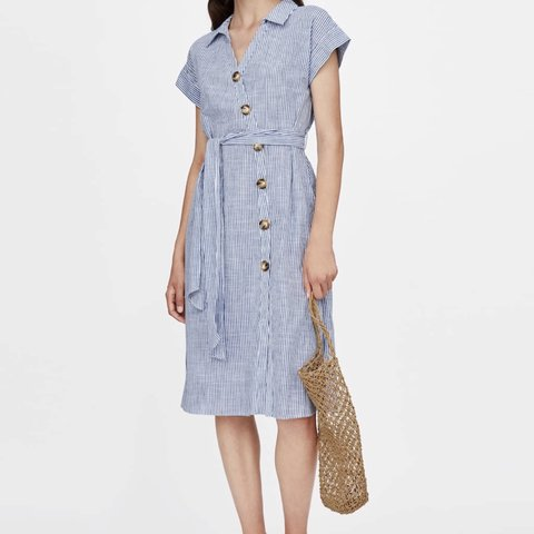 83889136 @ingakaz. in 11 hours. Ireland. Zara striped summer dress with contrasting  buttons 🌿Size S ...