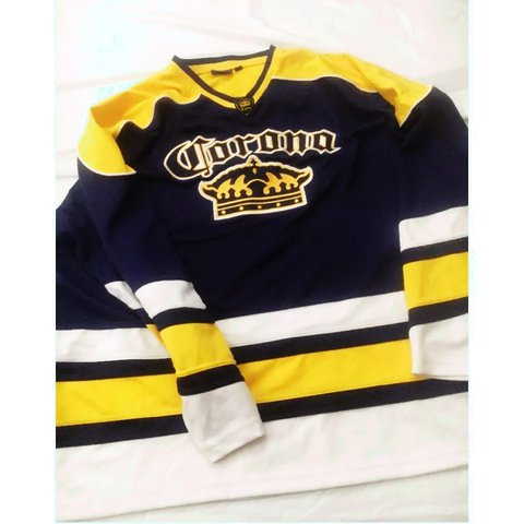 VINTAGE CORONA HOCKEY JERSEY ONLY FLAW IS SMALL BLUE STAIN - Depop 2c34ae60b67